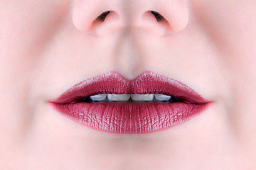 Sensual mouth.Red lipstick