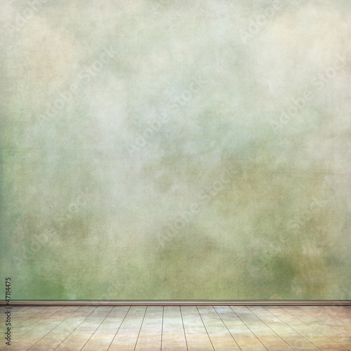 grungy wall and old wooden floor