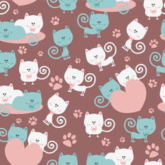 Cats in love cute seamless pattern © paw