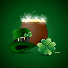 Pot of gold, green hat and cloverleaf - St.Patricks day symbols
