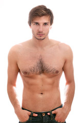 Handsome guy with naked torso over white background