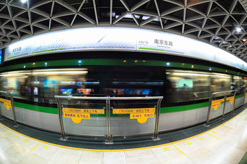 shanghai subway station by fish-eye view