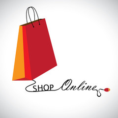 Illustration of shopping online using a technology. The graphic