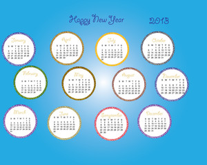 2013 calender with blue backdrop months, days, date