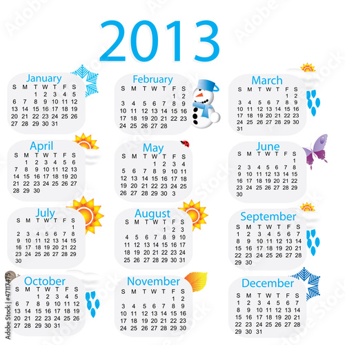 2013 colorful, rainbow calender with pictures