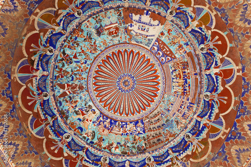 Painted dome ceiling of a haveli, shekhawati.
