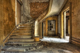 Massive stone stairway in an abandoned factory