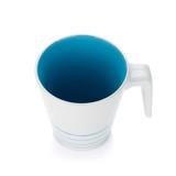 White mug, blue inside