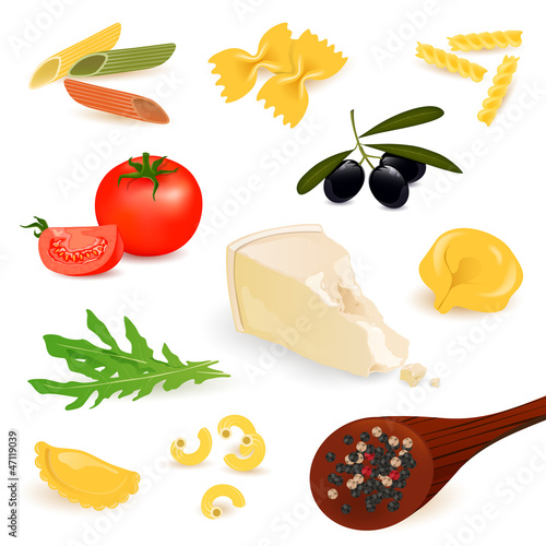 Vector Illustration of Pasta Elements