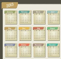 Vintage year 2013 calendar