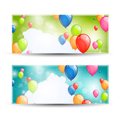 Vector Illustration of Two Colorful Banners with Balloons