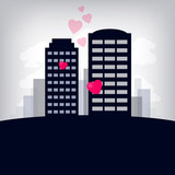 Card of love city with skyscrapers.