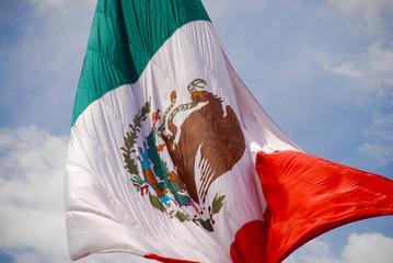 Bandera del Zócalo en el centro histórico de la Ciudad de México