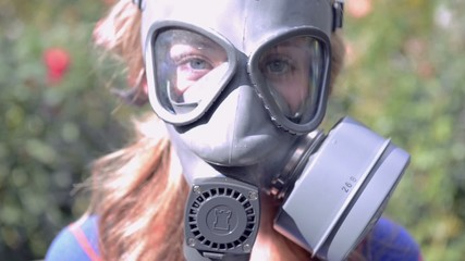 person wears gas masks