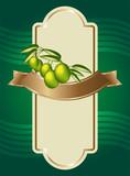 Etichetta con ramo d'ulivo e fascia