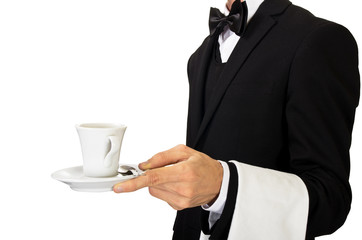 young waiter in uniform serving hot coffee