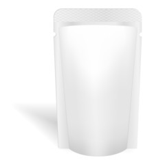 Blank white bag packaging for liquids, drink or food. Vector