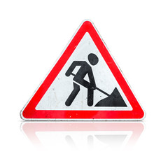 Roadworks, under construction, men at works sign isolated
