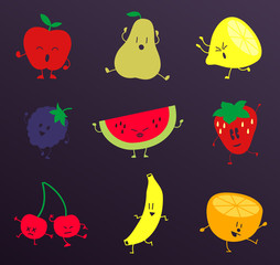 Happy Fruits Characters Set