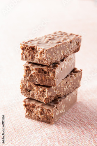 Stack of chocolate nougat