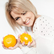 beautiful young and healthy women with yellow tangerines