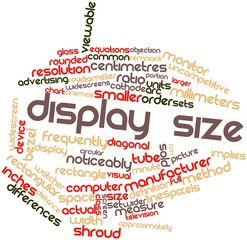Word cloud for Display size