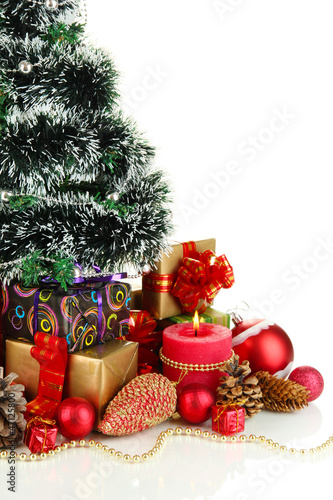 Composition from Christmas decorations isolated on white