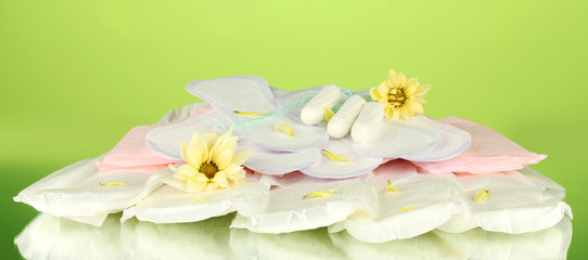 various types of sanitary pads and tampons