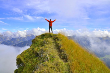Freude am Berggipfel