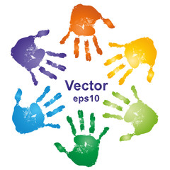 Vector conceptual circle colorful hand prints