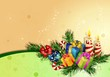 Christmas background with christmas gift boxes