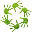 Conceptual human hand print of fresh green grass