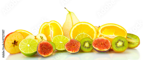 Sliced fruits isolated on white