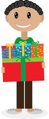 Мальчик дарящий подарки