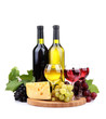 bottles and glasses of wine, assortment of grapes and cheese