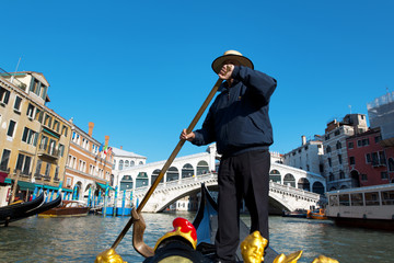 Rialto Bridge and the gondolier- Venice