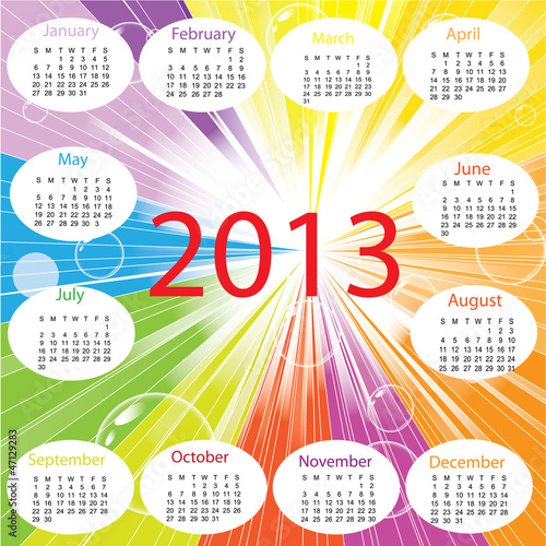 Beatiful rainbow colorful 2013 calender