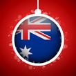 Merry Christmas Red Ball with Flag Australia