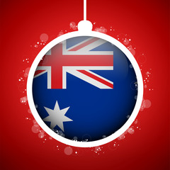 Merry Christmas Red Ball with Flag Australia