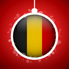Merry Christmas Red Ball with Flag Belgium
