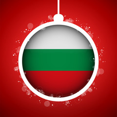 Merry Christmas Red Ball with Flag Bulgaria