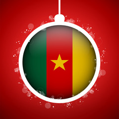 Merry Christmas Red Ball with Flag Cameroon