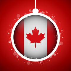 Merry Christmas Red Ball with Flag Canada