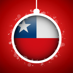 Merry Christmas Red Ball with Flag Chile