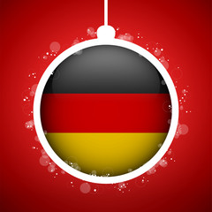 Merry Christmas Red Ball with Flag Germany