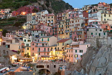 Manarola after sunset, Cinque Terre, Italy