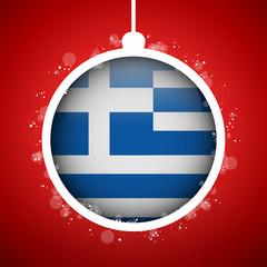 Merry Christmas Red Ball with Flag Greece