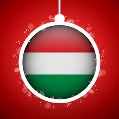 Merry Christmas Red Ball with Flag Hungary