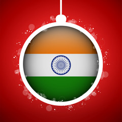 Merry Christmas Red Ball with Flag India