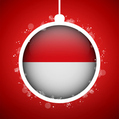 Merry Christmas Red Ball with Flag Monaco